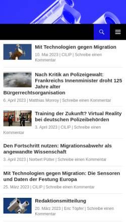 Vorschau der mobilen Webseite www.cilip.de, Cilip - Institut für Bürgerrechte & öffentliche Sicherheit e.V.