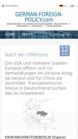 Vorschau der mobilen Webseite www.german-foreign-policy.com, Informationen zur deutschen Außenpolitik