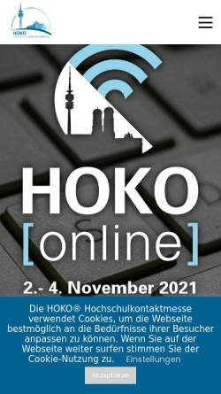 Vorschau der mobilen Webseite www.hoko-online.de, HOKO - Hochschulkontakte in München