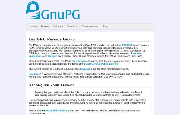 Vorschau von www.gnupg.org, GNU Privacy Guard