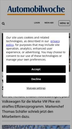 Vorschau der mobilen Webseite www.automobilwoche.de, Automobilwoche