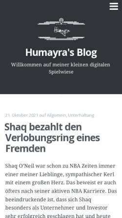 Vorschau der mobilen Webseite www.humayra.de, Humayra