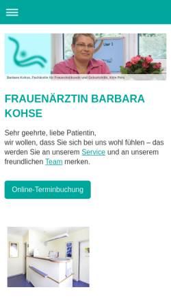 Vorschau der mobilen Webseite www.gyn-praxis-kohse.de, Kohse, Barbara