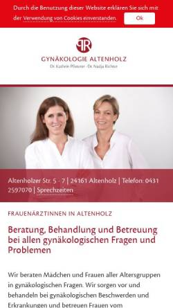 Vorschau der mobilen Webseite www.gynaekologie-altenholz.de, Gynäkologie Altenholz, Dr. Kathrin Pfisterer und Dr. Nadja Richter