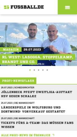 Vorschau der mobilen Webseite www.fussball.de, Fussball.de