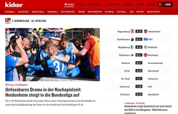 Vorschau von www.kicker.de, Kicker-online