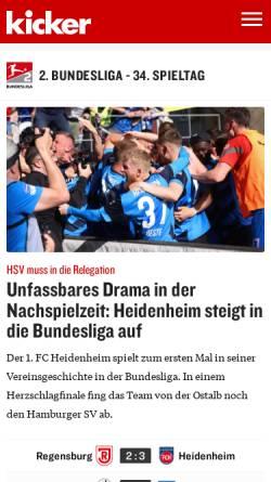 Vorschau der mobilen Webseite www.kicker.de, Kicker-online