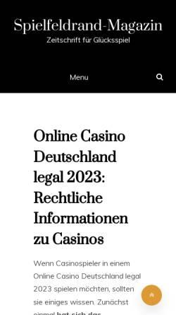 Vorschau der mobilen Webseite www.spielfeldrand-magazin.de, Spielfeldrand - Das Magazin