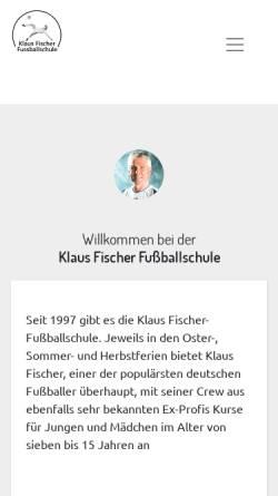Vorschau der mobilen Webseite www.klaus-fischer-fussballschule.de, Klaus Fischer Fussballschule