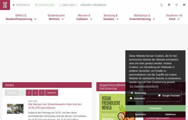 Vorschau von www.studentenwerk-halle.de, Studentenwerk Halle