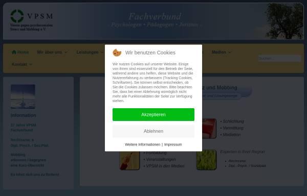 Vorschau von www.vpsm.de, Verein gegen psychosozialen Stress und Mobbing e.V. [VPSM]