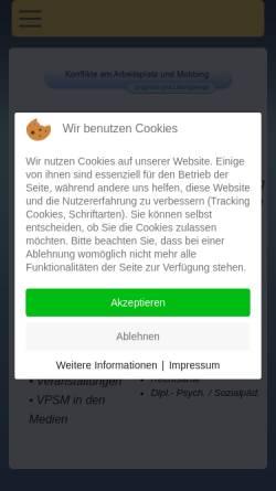 Vorschau der mobilen Webseite www.vpsm.de, Verein gegen psychosozialen Stress und Mobbing e.V. [VPSM]