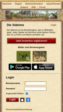 Vorschau der mobilen Webseite www.die-staemme.de, Die Stämme
