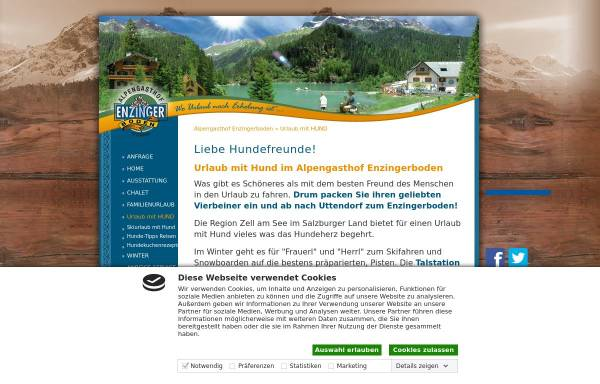 Vorschau von www.enzingerboden.at, Alpengasthof Enzingerboden