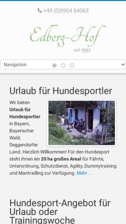 Vorschau der mobilen Webseite www.edberghof.de, Edberg Hof Urlaubsdomizil mit Hund