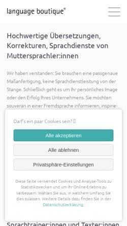 Vorschau der mobilen Webseite language-boutique.de, Elizabeth Naithani