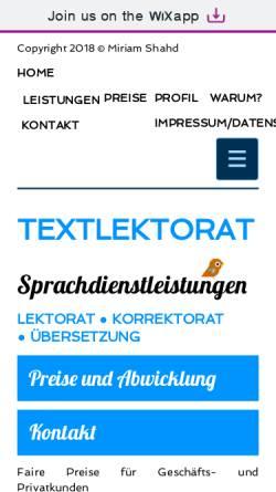 Vorschau der mobilen Webseite www.textlektorat.de, Textlektorat Miriam Shahd
