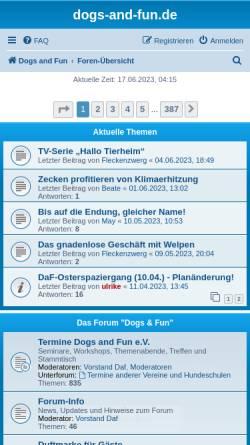 Vorschau der mobilen Webseite www.dogs-and-fun.de, Dogs and Fun e.V.