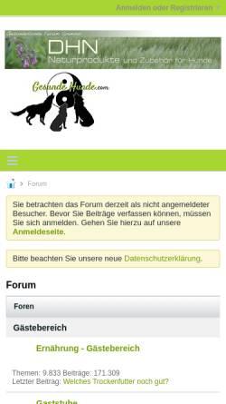 Vorschau der mobilen Webseite www.gesundehunde.com, Gesunde Hunde Forum