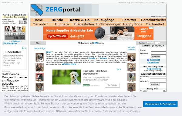 Vorschau von www.zergportal.de, Zerg-Portal