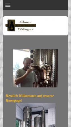 Vorschau der mobilen Webseite www.dorfbrennerei-boelinger.de, Alte Dorfbrennerei - Elmar Bölinger