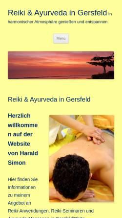 Vorschau der mobilen Webseite www.reiki-ayurveda-gersfeld.de, Harald Simon