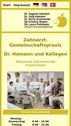 Vorschau der mobilen Webseite www.drhamann.de, Dr. Dagmar Hamann, Dr. Jörg Hamann, Dr. Silvia Schmücker