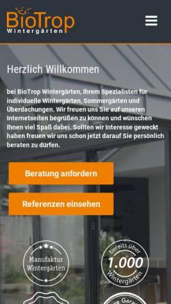 Vorschau der mobilen Webseite biotrop-wintergarten.de, BioTrop GmbH