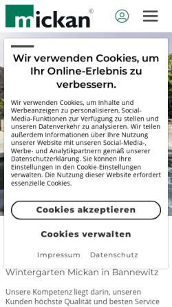 Vorschau der mobilen Webseite www.wintergarten-mickan.de, Firma Mickan
