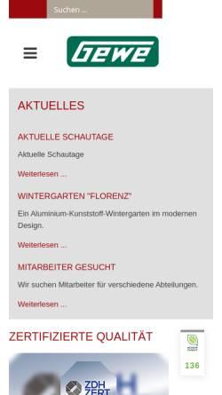 Vorschau der mobilen Webseite www.gewe.com, Gewe-Selecta Fenster- und Rolladenfabrik Heinrich Weihe GmbH