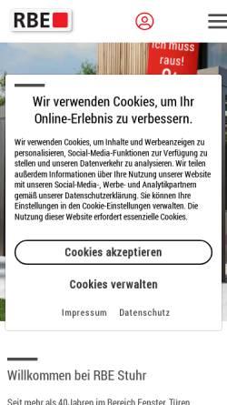 Vorschau der mobilen Webseite www.rbe-stuhr.de, RBE Bauelemente