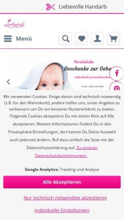 Vorschau der mobilen Webseite lovelystuff.de, Lovelystuff OHG