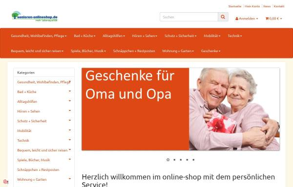 Vorschau von www.senioren-onlineshop.de, Senioren-Onlineshop - Lebensphasen GmbH
