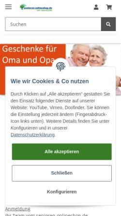Vorschau der mobilen Webseite www.senioren-onlineshop.de, Senioren-Onlineshop - Lebensphasen GmbH