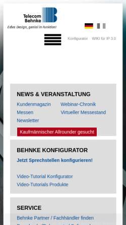 Vorschau der mobilen Webseite www.behnke-online.de, Telefonbau Behnke GmbH