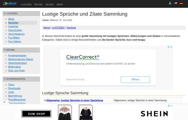 Vorschau von www.andinet.de, Sprüchesammlung von Andi