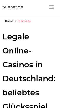 Vorschau der mobilen Webseite www.telenet.de, Telenet GmbH Kommunikationssysteme