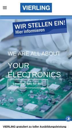 Vorschau der mobilen Webseite www.vierling.de, Vierling Communications/Production/Systems Gesellschaften mbH, Vierling Electronics GmbH & Co. KG