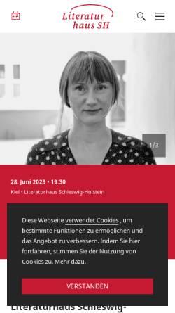 Vorschau der mobilen Webseite literaturhaus-sh.de, Literaturhaus Schleswig-Holstein in Kiel