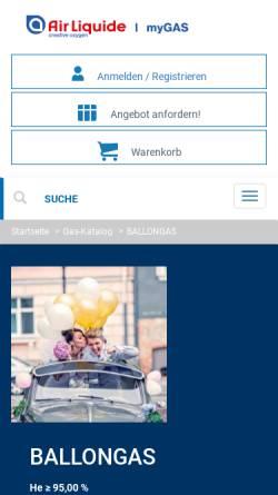 Vorschau der mobilen Webseite www.ballon24.de, Air Liquide Deutschland GmbH