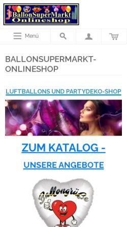 Vorschau der mobilen Webseite www.ballonsupermarkt-onlineshop.de, Ballon SuperMarkt, Simone Hacker