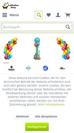 Vorschau der mobilen Webseite www.luftballonshop.com, Luftballonshop, Bianca Mack