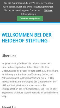 Vorschau der mobilen Webseite www.heidehof-stiftung.de, Stiftung für Bildung und Behindertenförderung, Stuttgart