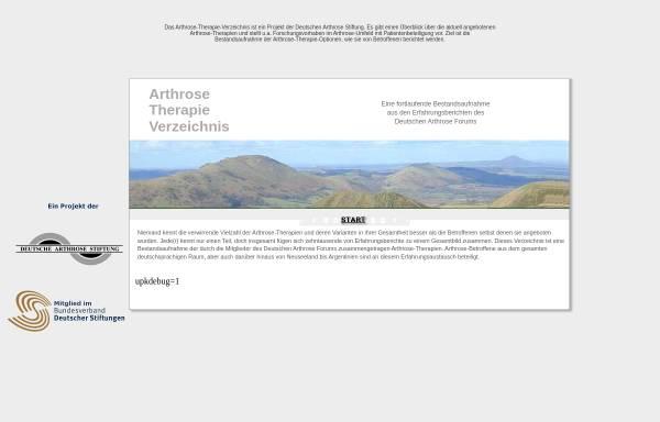 Vorschau von www.arthrose-therapie-verzeichnis.de, Arthrose Therapie Verzeichnis