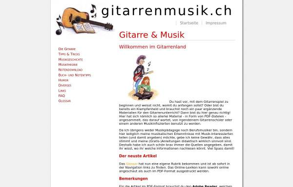 Vorschau von www.gitarrenmusik.ch, Gitarre & Musik