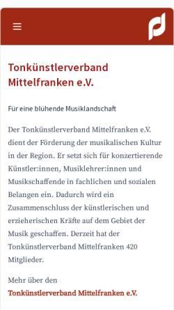 Vorschau der mobilen Webseite www.tkv-mittelfranken.de, Tonkünstlerverband Mittelfranken