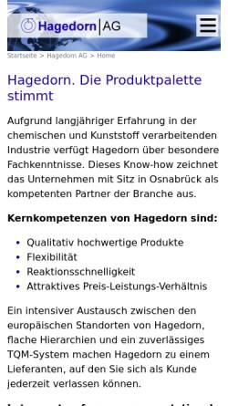 Vorschau der mobilen Webseite www.hagedorn.de, Hagedorn-Gruppe