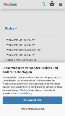 Vorschau der mobilen Webseite www.firstbond.de, Klas Duggen, Detlef Simon und Hairuo Chen GbR - FirstBond