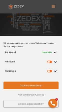 Vorschau der mobilen Webseite www.zedex.de, Wolf Kunststoff-Gleitlager GmbH