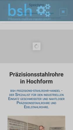 Vorschau der mobilen Webseite www.bsh-solingen.de, BSH Präzisions-Stahlrohr-Handel GmbH